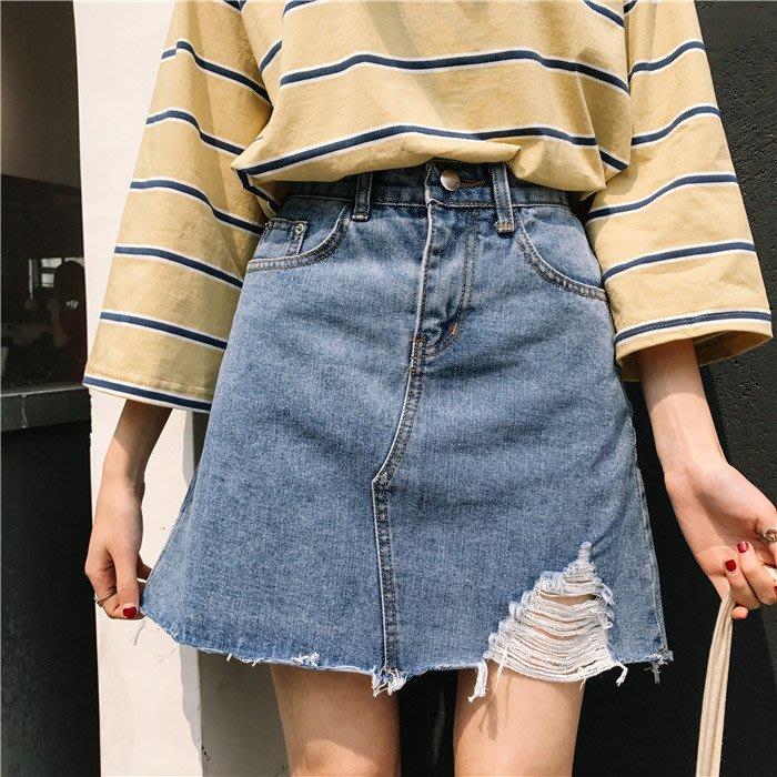 可可里小姐~春夏女装韩版时尚高腰磨破牛仔裙高腰显瘦A字裙短裙