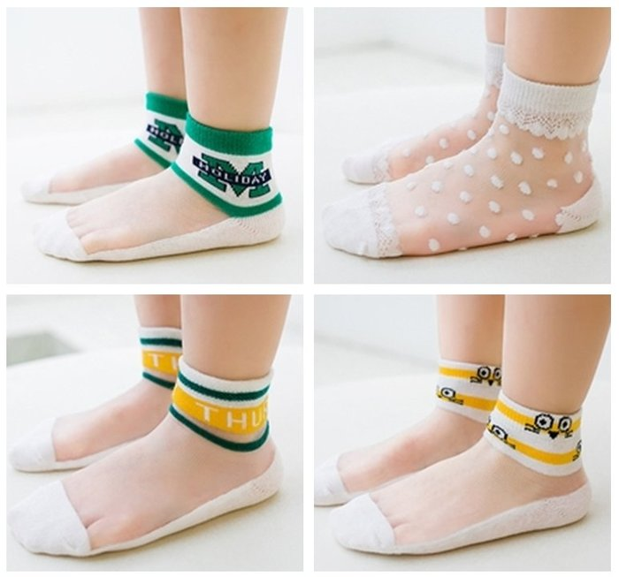 【小阿霏】兒童透氣襪一組5雙入 夏日涼爽玻璃絲短襪子 男童女童寶寶中性襪 中小中大尺碼PA366