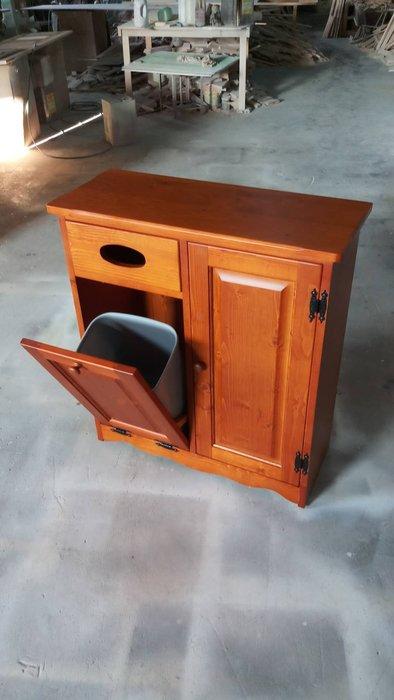 美生活館-- 全實木凱撒柚木色單抽雙門垃圾桶面紙收納功能櫃--也可訂白色或雙色再詢問