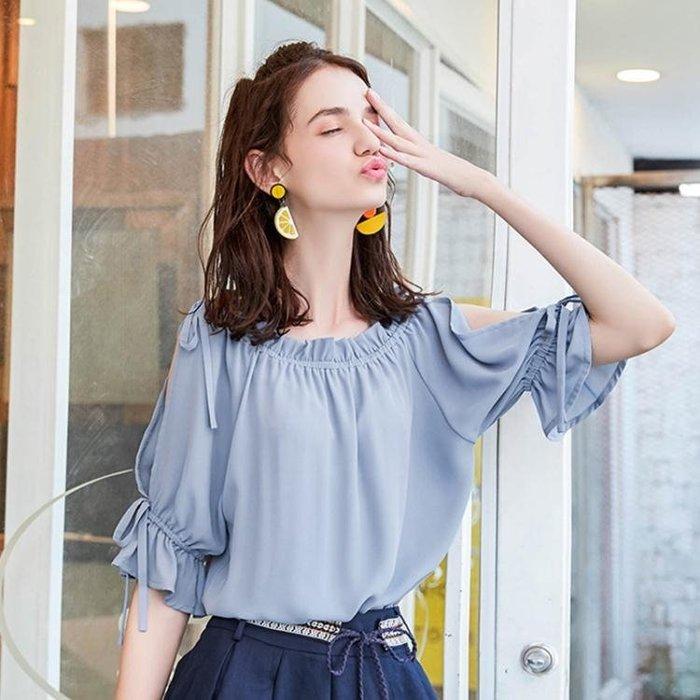 MG小象雪紡衫女春季2019新款韓版寬鬆喇叭短袖一字領露肩甜美上衣
