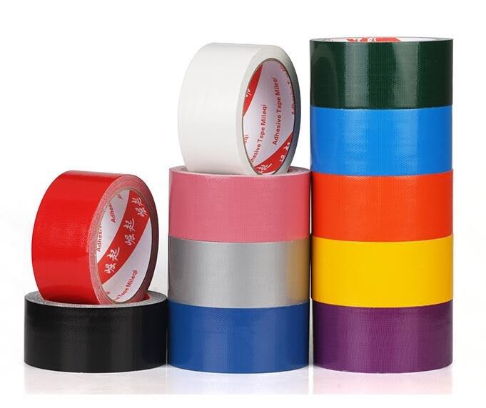 強力彩色布基膠帶地毯膠帶防水diy裝飾地面無痕補漏黑黃警示膠布 地板保護膜銀色單面加寬大力膠紅色婚慶固定