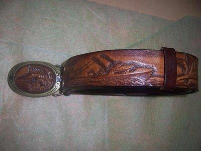 旗魚與遊艇皮雕皮帶只限訂製Cheergiant crafts fishes belt 巧將皮雕生活皮件禮品手工雕刻