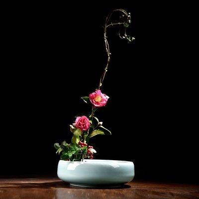小原流陶瓷創意劍山插花器禪意中式碗形插花盆日式花道茶席插花盤  衣品居 YPJ