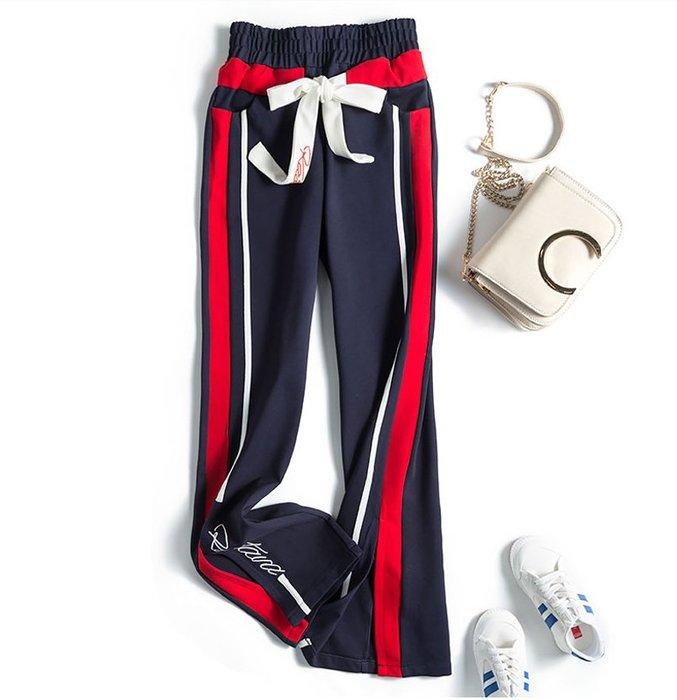 ♥PK漂亮♥ F18058 XS~L號 春夏薄款運動休閒開叉英文字高腰垂墜寬鬆闊腿口袋長褲 深藍黑紅3色
