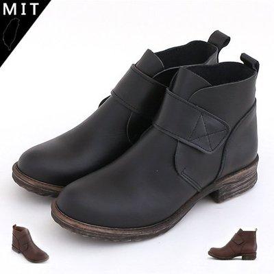 短靴  簡約素面一片式鞋頭魔鬼氈手工真皮低跟短靴 馬丁靴 機車靴 軍靴 MIT製造 丹妮鞋屋