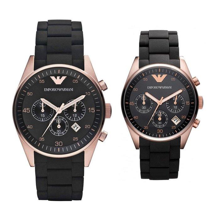 【金永珍珠寶鐘錶】實體店面*原廠真品 ARMANI 矽膠鋼帶對錶  AR5905大 AR5906小 對錶 禮物 送鍍膜*