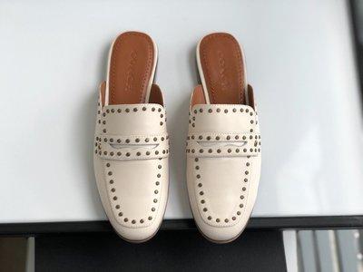 美國大媽代購 COACH 寇馳  新款混搭羊皮鉚釘托鞋 款式1 懶人鞋 休閒女鞋 原裝正品 美國代購