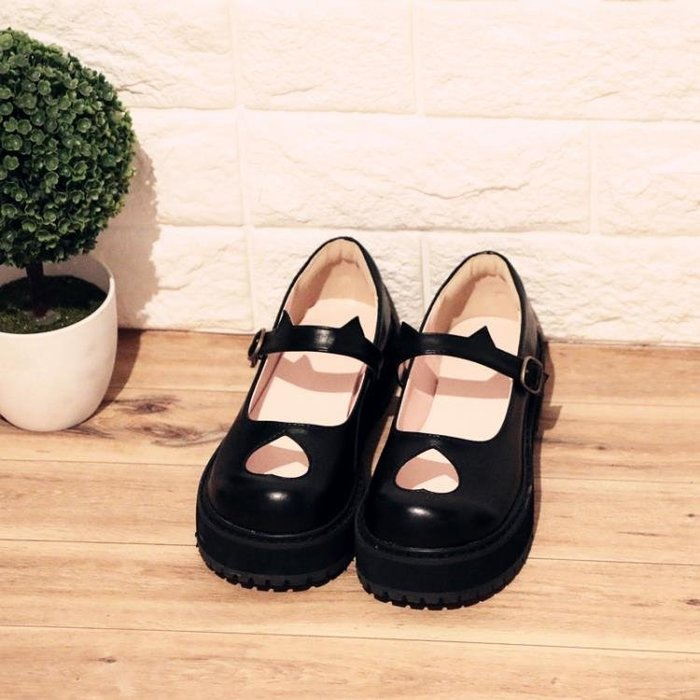 日系復古愛心厚底鞋軟妹單鞋女鞋甜美軟萌貓咪鞋圓頭娃娃鞋