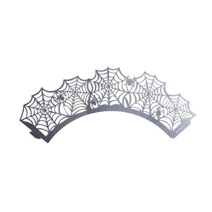爆款--萬圣節12枚/套鏤空蕾絲蜘蛛網紙杯蛋糕圍邊花邊烘焙蛋糕裝飾#烘焙工具#甜點#手工製作#環保