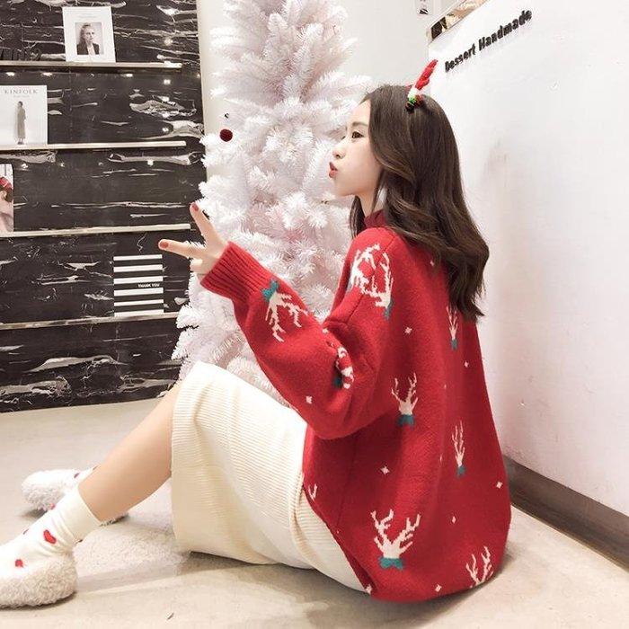高領毛衣紅色聖誕慵懶風寬鬆很仙的洋氣半高領毛衣套頭女加厚新款2019秋冬 二度