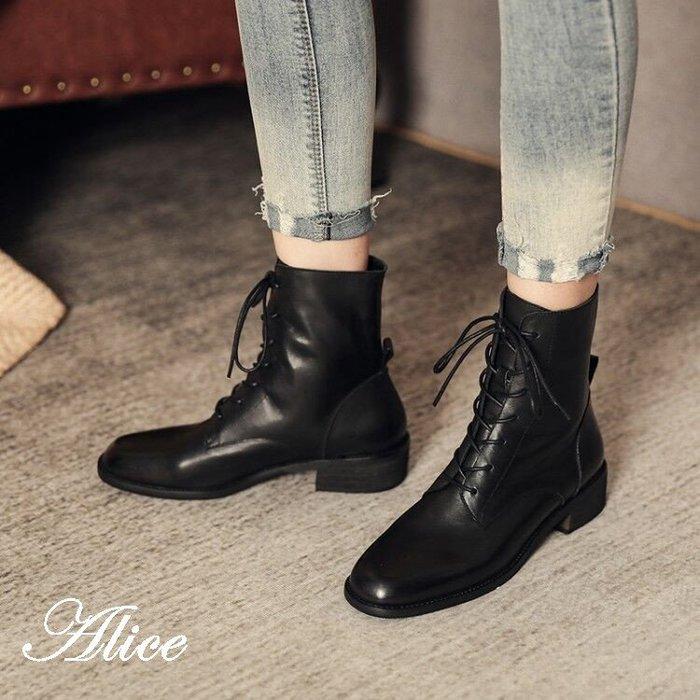 『Alice❤愛麗絲』新款平底冬款短靴真皮棕色馬丁靴女春秋單靴英倫風女鞋