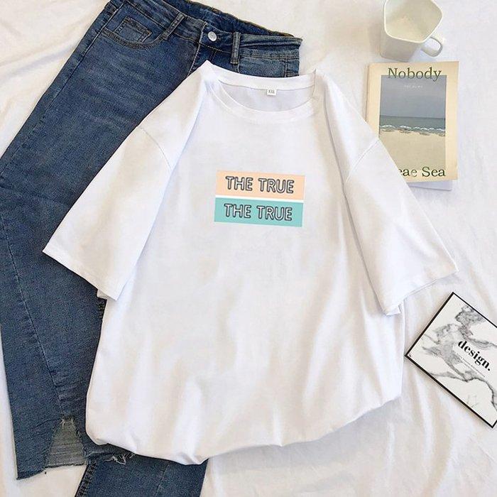 夏季女裝短袖T恤 白色t恤女短袖新款夏裝韓版寬松bf半袖純棉體恤學生ins上衣潮