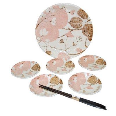 ~ 和藍~夢小花餐盤6件組  美濃燒   日式 無毒 瓷器 生日 結婚 送禮 工藝 收藏品
