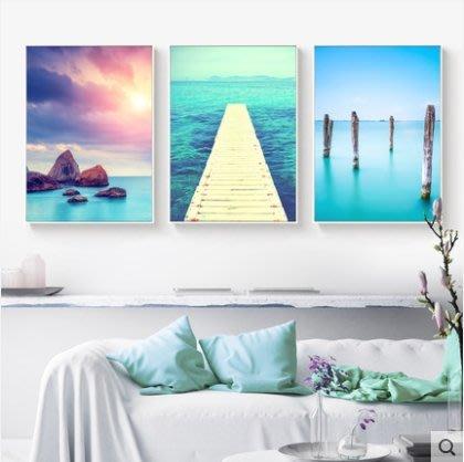 『格倫雅』藍之謎 地中海裝飾畫客廳掛畫酒店壁畫三聯畫藍色靜物風景海洋畫^19746