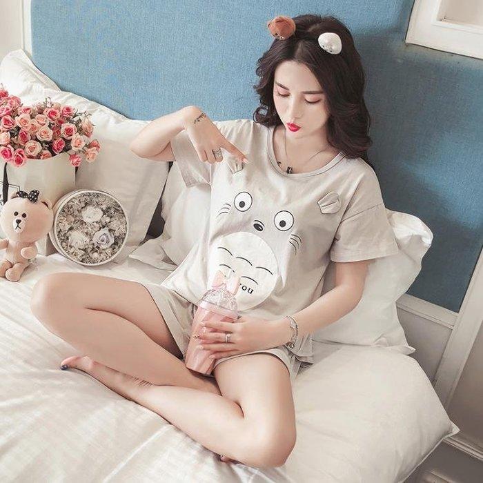 韓版學生睡衣女夏季短袖純棉甜美可愛清新清新家居服龍貓兩件套裝 尚美優品