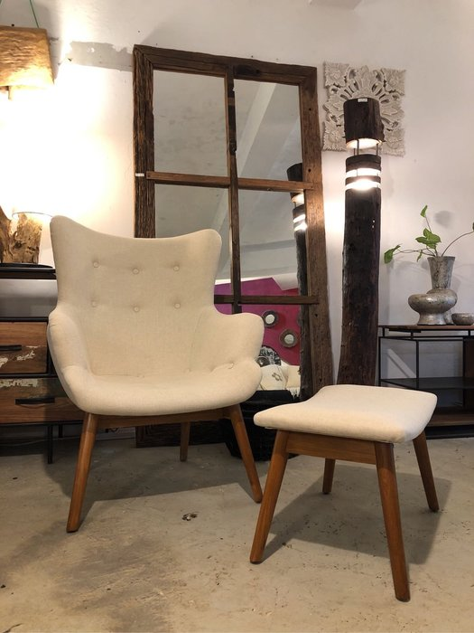 柚木單人沙發+腳椅