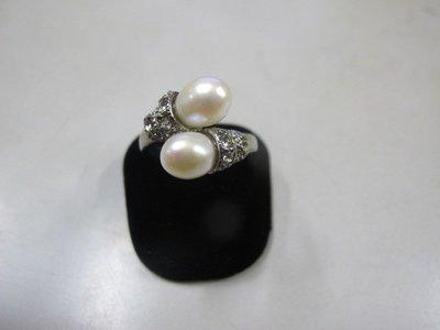 二手舖 NO.3990 天然珍珠 鑲鑽造型戒指 首飾飾品 全新