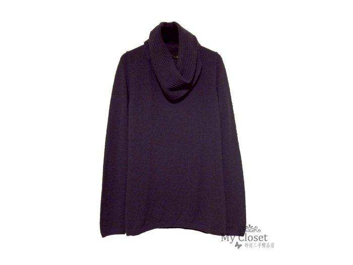 My Closet 二手名牌 Loro Piana 紫灰色100%Cashmere 大寬鬆領長袖毛衣