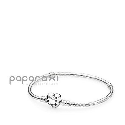 美國正品代購PANDORA SILVER BRACELET WITH HEART SHAPED CLASP愛心扣環手鍊
