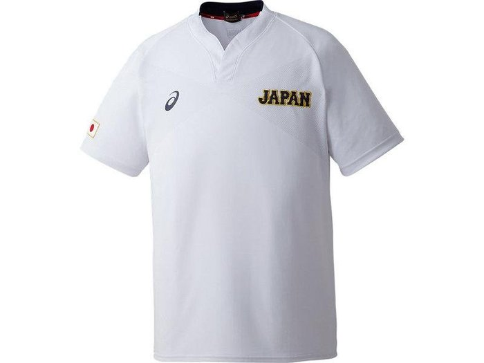 貳拾肆棒球-日本直送-侍JAPAN日本代表野球隊實使用球員版短袖練習衣/Asics製作