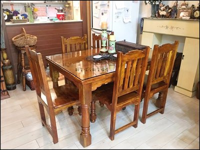 古典鄉村風 實木五尺餐桌 印度風原木仿...