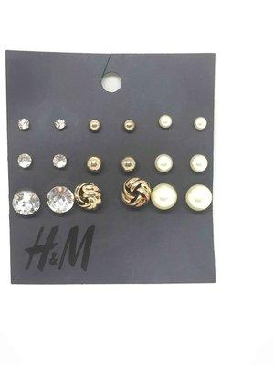 H&M 9件式珍珠、珠子金色系耳針式耳環