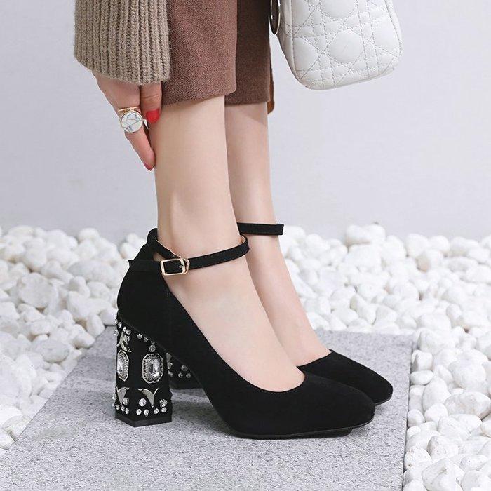 高跟鞋 女2018新款磨砂皮水鉆方頭粗跟一字扣淺口黑色 RLYX 9917