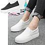 韓國明星流行小白鞋 二雙免運費 甜蜜小心機內增高帆布鞋鬆糕鞋厚底鞋 懶人鞋 夏日休閒鞋(Q898 現貨+預購)