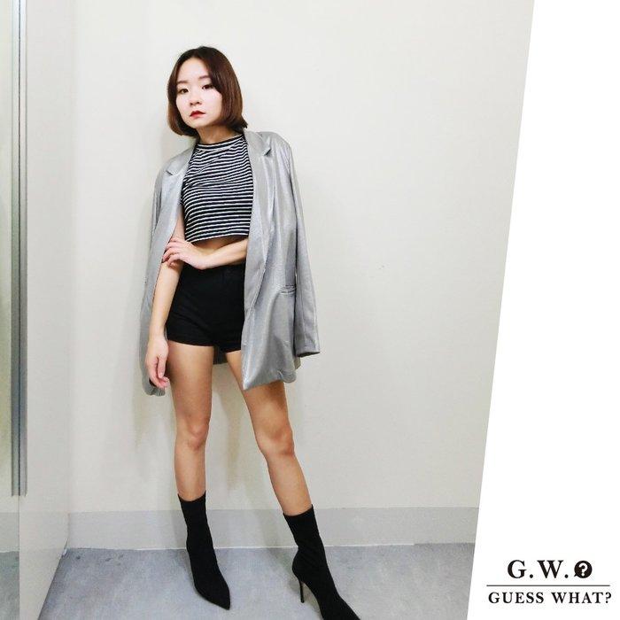 GW 銀灰色 長版寬鬆BF 西裝外套 歐美風 S-L號 GUESSWHAT