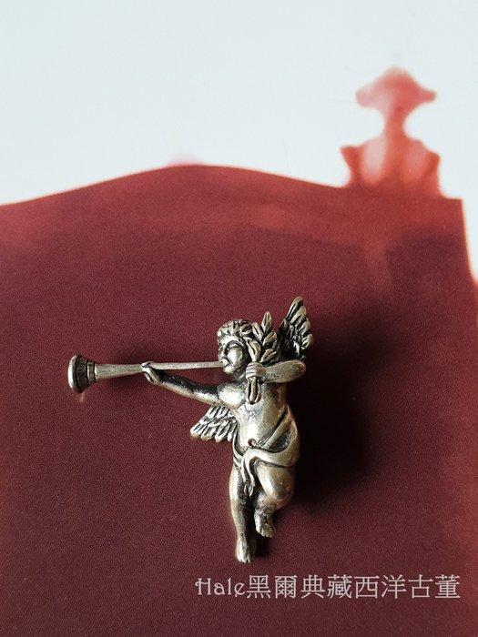 黑爾典藏西洋古董~純925銀日本桂冠葉吹號角可愛小天使希臘銀墜~Vintage穿搭蕾絲洋裝