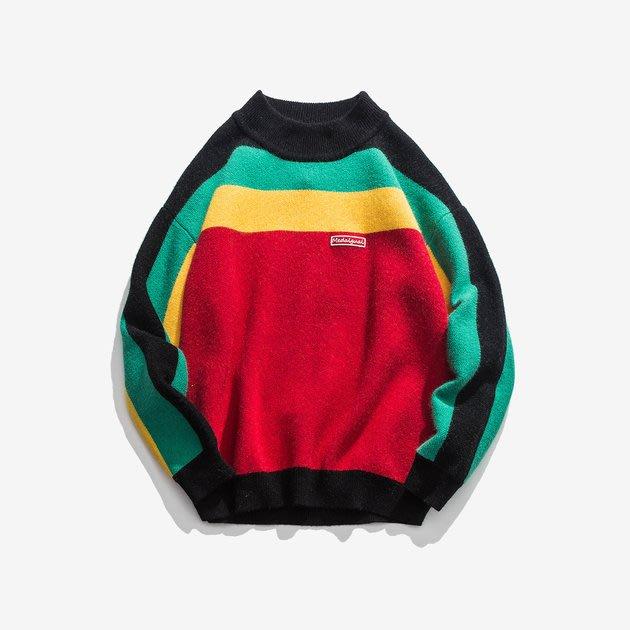 FINDSENSE 2019 秋季上新 G7 牙買加拼色毛衣素面條紋圖案毛衣上衣男裝