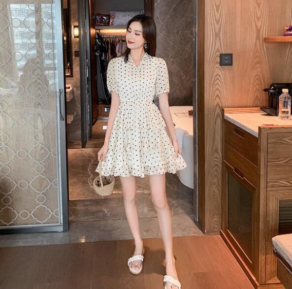 莎芭 韓版洋裝 雪紡洋裝  波點連身裙 V領短袖a字裙