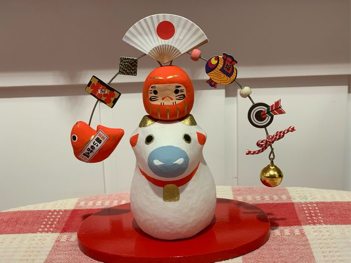 *黑頭小羊雜貨小舖*日本帶回zakka~和風手工十二干支牛年福神招福擺飾