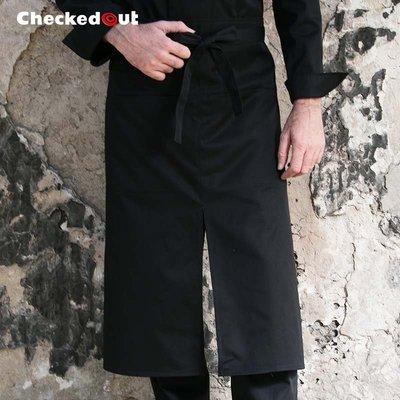 【制服工廠店】Checked Out廚師圍裙男士餐廳酒店短款半身開叉圍裙廚房半截圍裙餐飲工作黑白色