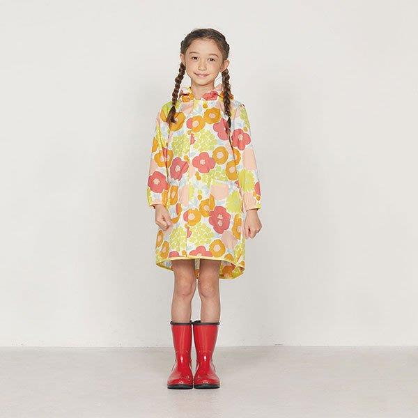 現貨!日本WPC 克拉拉花朵L 空氣感兒童雨衣/防水外套 附收納袋(120-140cm)