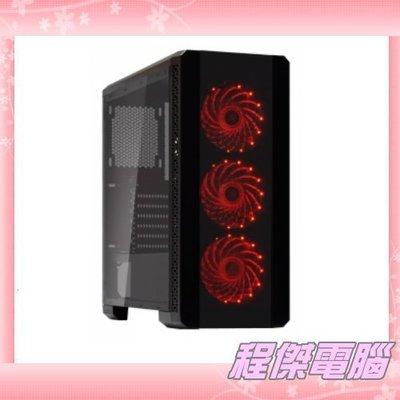 『高雄程傑電腦』德隆 YAMA SHOW BOX 鋼化玻璃 內附三顆12CM紅光風扇 下置電源 免運費【實體店家】