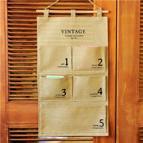 掛袋收納袋多層墻上門后掛帶儲藏袋棉麻布藝壁掛置物袋