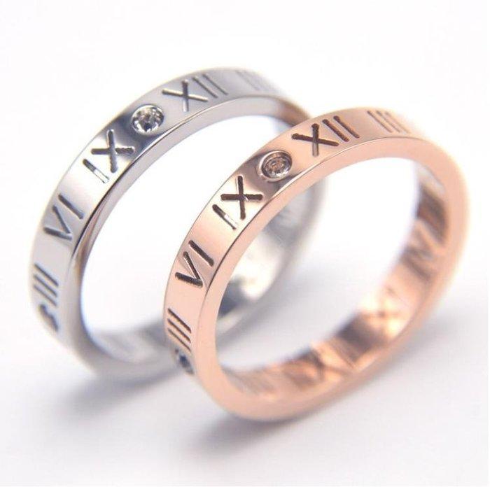 歐洲潮款羅馬數字戒指玫瑰金指環鈦鋼情侶學生女百搭食指日韓復古
