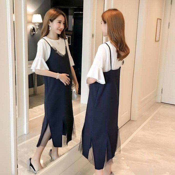 洋裝—孕婦夏裝套裝時尚款新款韓版中長裙子寬鬆春裝夏季孕婦連身裙