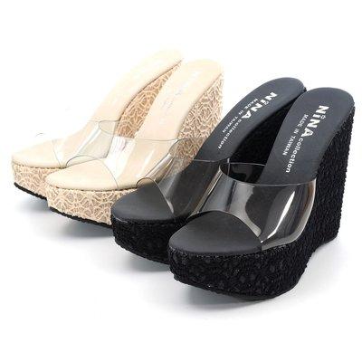 ❤含運❤鞋念 美人館 MIT透明蕾絲高台美拖鞋-米色/黑色36-39碼【526-03】