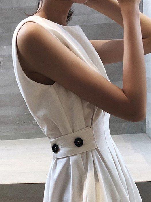Papadarling 20fw 奧黛莉赫本氣質鈕扣腰身長洋裝 連身裙