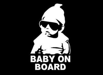 小墨鏡銀 防水 車貼 Baby On Board Baby Inside Baby InCar born 彌月 警示