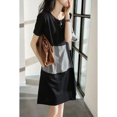 XG 不規則拼接設計感 寬鬆舒適短袖洋裝連身裙 休閒洋裝