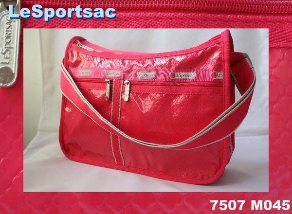 【LeSportsac】100% 全新正品 7507 M045 / RASPBERRY DEBOSSED 書包 側肩包 斜背包*附收納袋*NEW