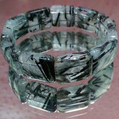 020709 天然黑鈦晶手排 黑銀鈦晶手排 16.5*20*6mm 粗版絲 霸氣款 能量強。