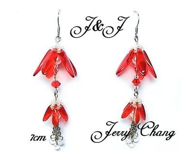 J&J精品~花間精靈~珠寶編織水晶琉璃花墬耳環~大紅款