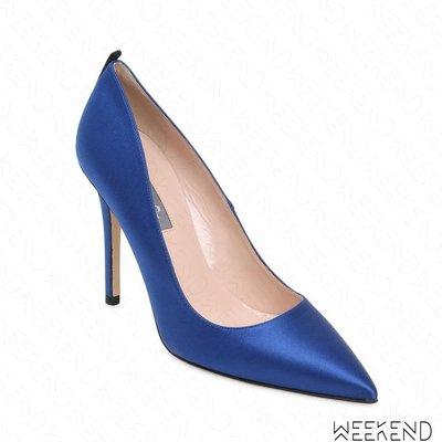 【WEEKEND】 Sarah Jessica Parker SJP Fawn 緞面 高跟鞋 藍色