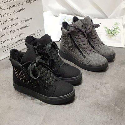 2018冬季新款英倫系帶拉鏈內增高鉚釘短靴厚底防滑高幫女鞋馬丁靴