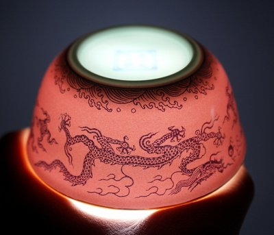 大明成化年制 雙龍紅釉描金雞缸杯小杯茶杯