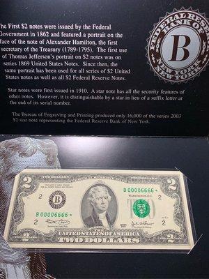 (((趣味大叔))) 🇺🇸 2003年幸運2美元00006666趣味星記補號鈔稀有釋出!!